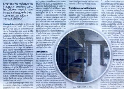 El Sur, a Malaga newspaper, features Alcazaba Premium Hostel