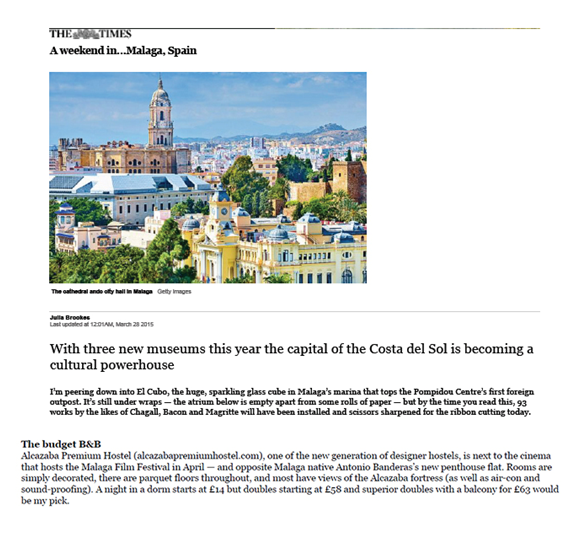 Alcazaba Premium Hostel appears in The Times