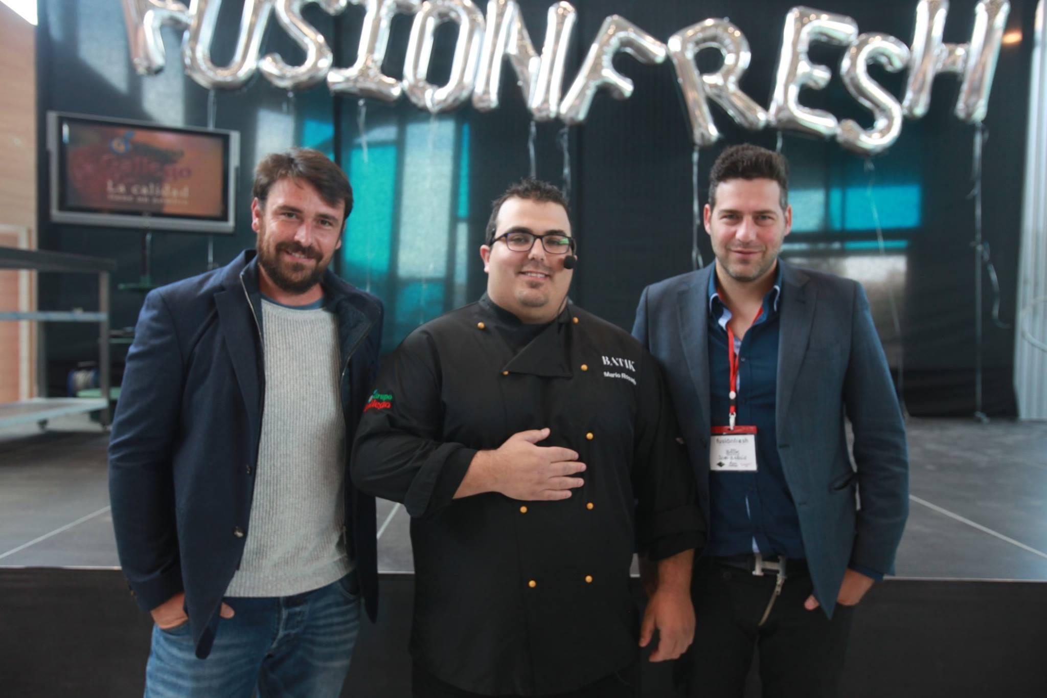 El chef Mario Rosado junto a Jose Manuel Montalvo y Juan García en el FusionFresh 2017