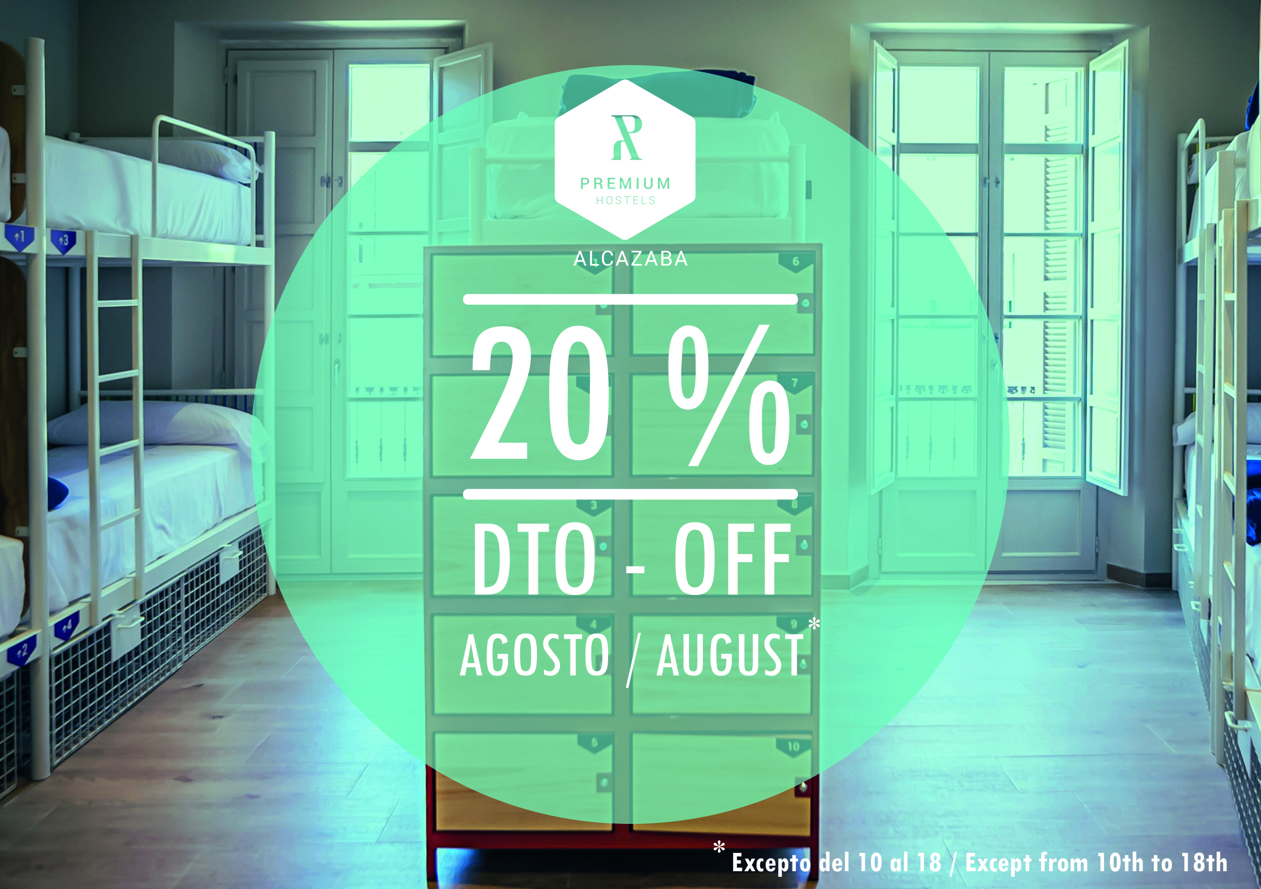 20 % off on the standard rates to stay at our Malaga hostel in August