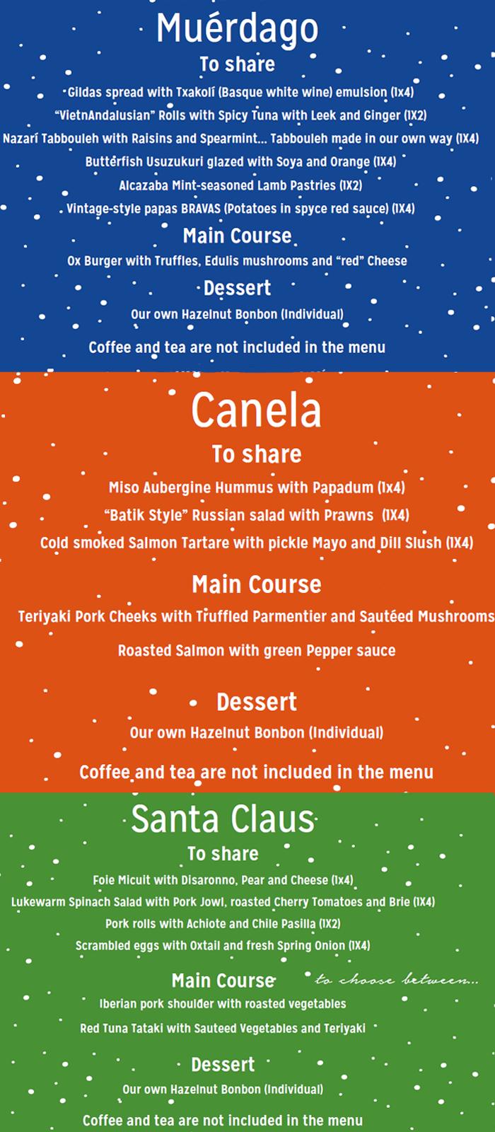 Batik's Christmas Menu
