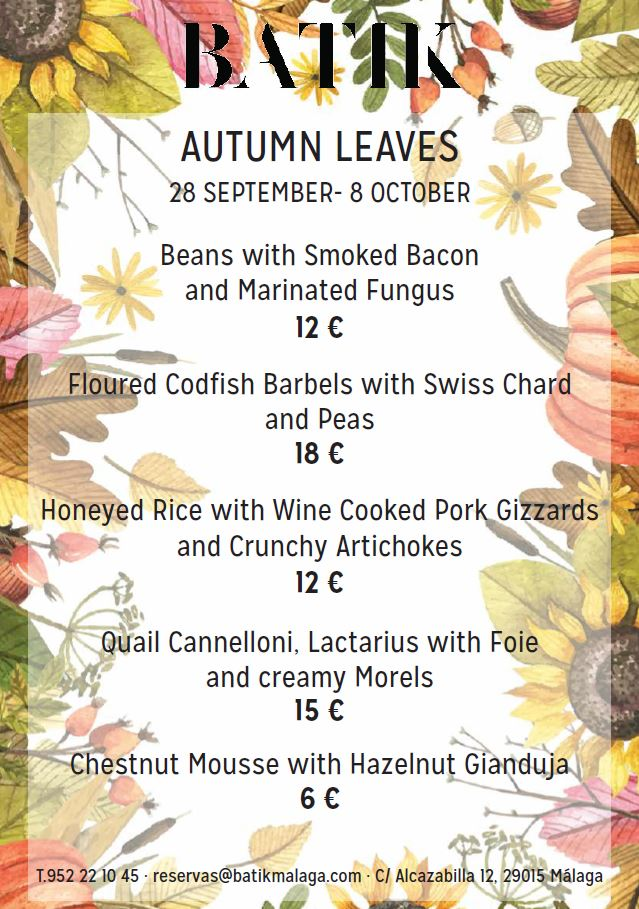 Batik's Autumn menu