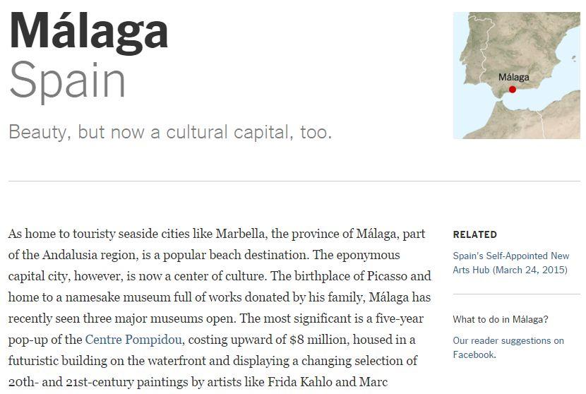 Málaga ciudad recomendada por The New York Times