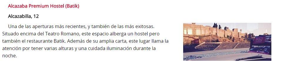 Alcazaba Premium Hostel appears in the Diario Sur